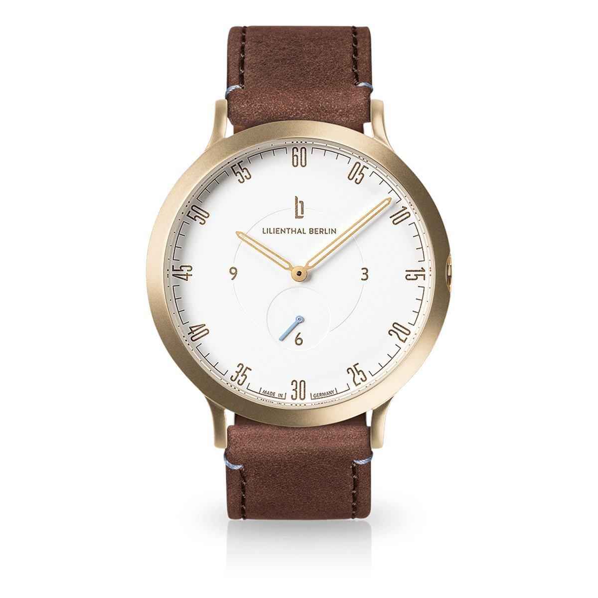 Lilienthal Berlin -Made in Germany- ベルリンの新しい時計モデル L1 ステンレススチール ケース B01MQLTTZO サイズ: 37.5 mm|ケース: ゴールド/ ダイアル: ホワイト/ ストラップ: ブラウン ケース: ゴールド/ ダイアル: ホワイト/ ストラップ: ブラウン サイズ: 37.5 mm