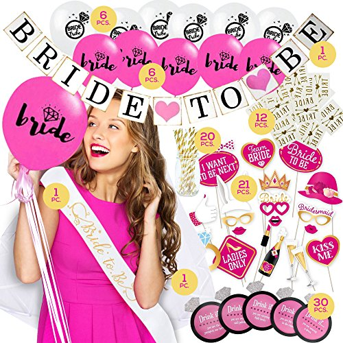 Bachelorette Party Decorations KIT | Bridal Shower Set | Bride to be Sash, Veil/Comb, Banner, Balloons, Photo Booth Props, Tattoos, Drinking Game, Straws | 96 Party Supplies Accessories -