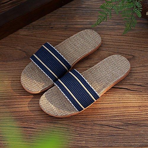 DogHaccd Zapatillas,Lencería del hogar zapatillas verano parejas femeninas interior gruesa antideslizante permanezca fresco con la palabra zapatillas verano macho Azul oscuro2