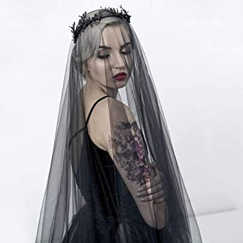 Black Cathedral Bride Wedding Veil Long  Appliques Long Bridal Veil With Comb