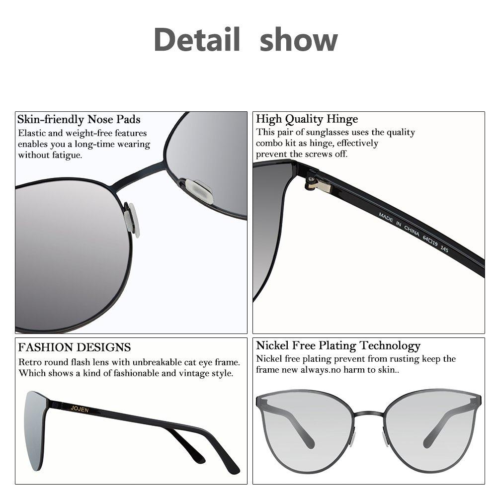 0e672639b96 Amazon.com  JOJEN Fashion Round Cateye Sunglasses for women wayfarer Metal  Frame JE015(Black Frame Mercury Lens 10)  Clothing