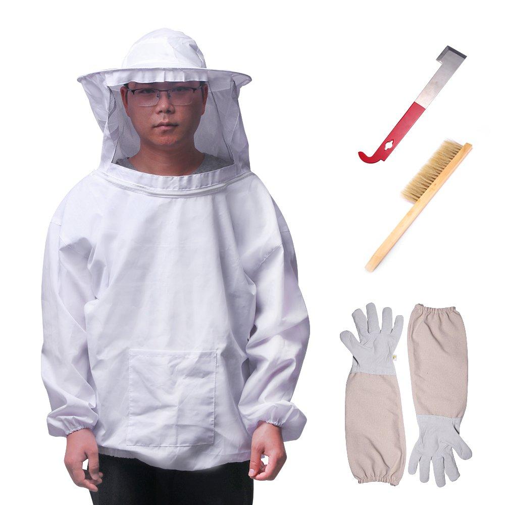 ONEVER 4PCS Beekeeping Suit Tool Set - Beekeeper Suit Veil Tools Kit,Long Sleeve Gloves Bee Hive Brush J Hook Hive Half Body Equipment