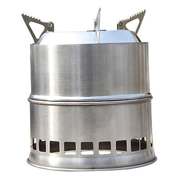 SODIAL(R)Portatil Estufa Estufa de Madera/Estufa de lena Solidificado estufa de alcohol cocina del acero inoxidable al aire libre de picnic barbacoa ...