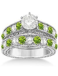 Antique Diamond and Peridot Bridal Gemstone Wedding Ring Set Hypoallergenic Palladium (3.12ct)
