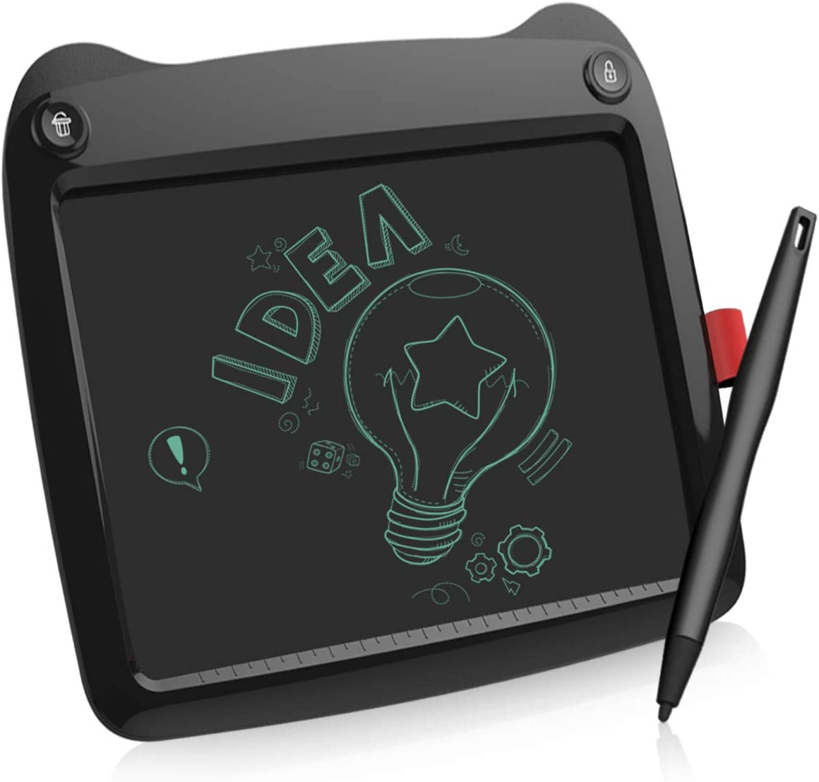 LCD Writing Tablet, 9 Inch Electronic Writing Drawing Pads Portable Doodle Board Gifts for Kids Office Memo Home, EP109B-M-N01, Black