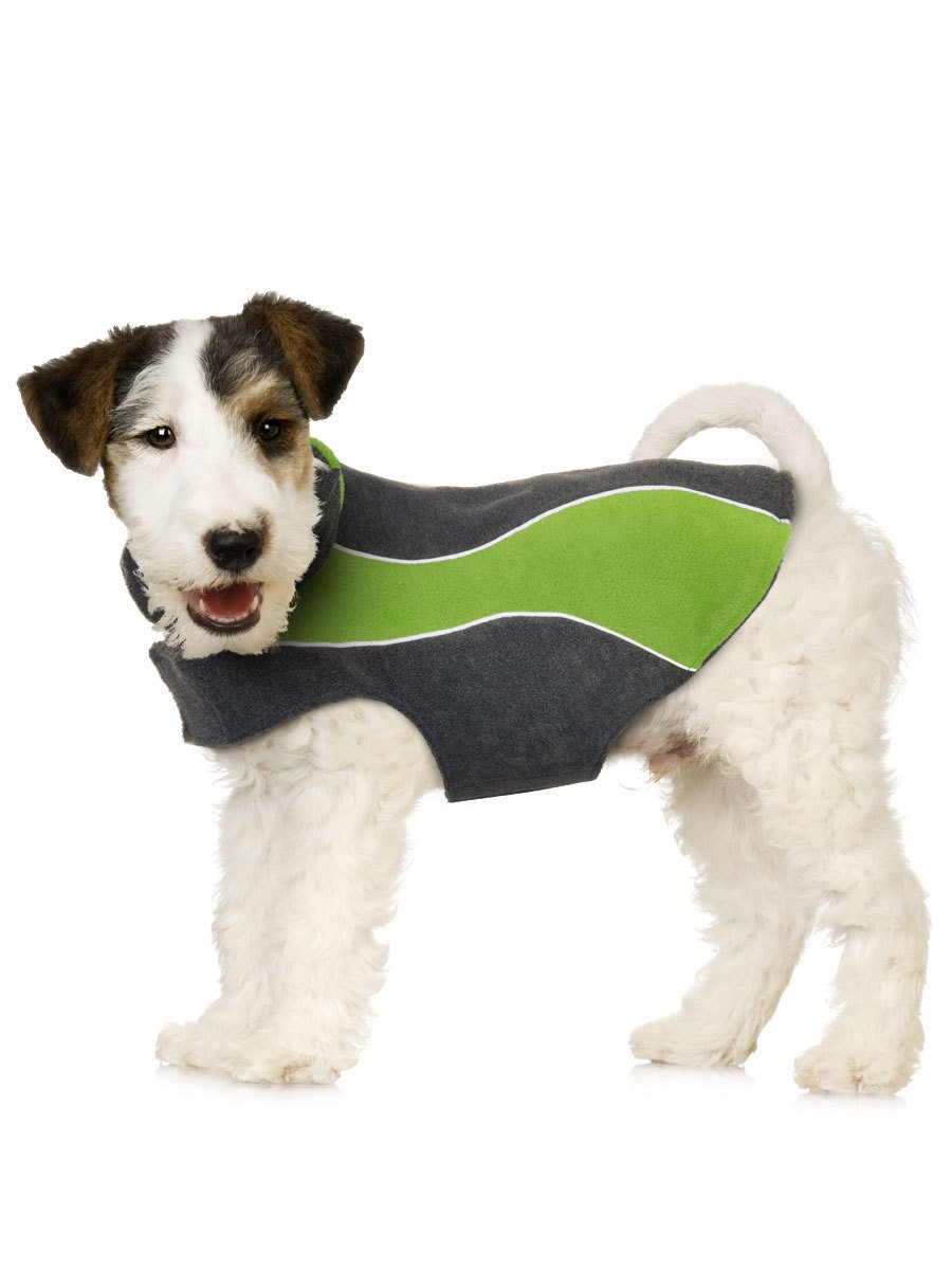 Double Fleece Dog Coat with Reflective Stripe. For Cocker Spaniel, Boston Terriers and Bulldogs.
