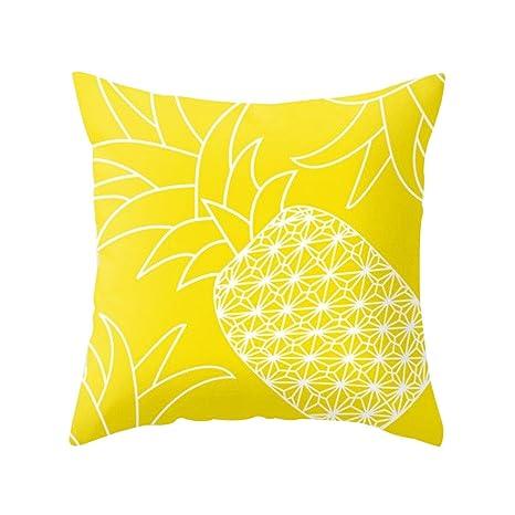 Dragonaur - Funda para cojín con diseño de piña para la decoración del sofá y la casa, color amarillo, poliéster, 1, Yellow Pineapple