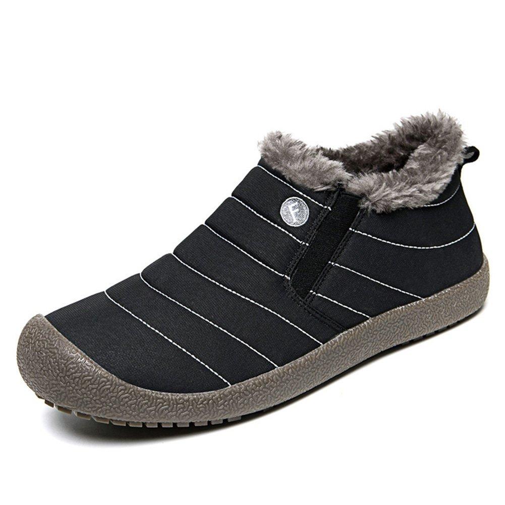 Non-Slip Waterproof Outdoor Snow Boots, Super Lightweight Warm Fashion Stripes Ski Boots For Women Men Black Low43
