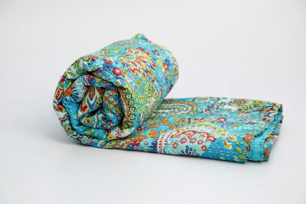Indian Paisley Print Kantha Quilt Twin Kantha Bedspread Blanket Kantha Throw