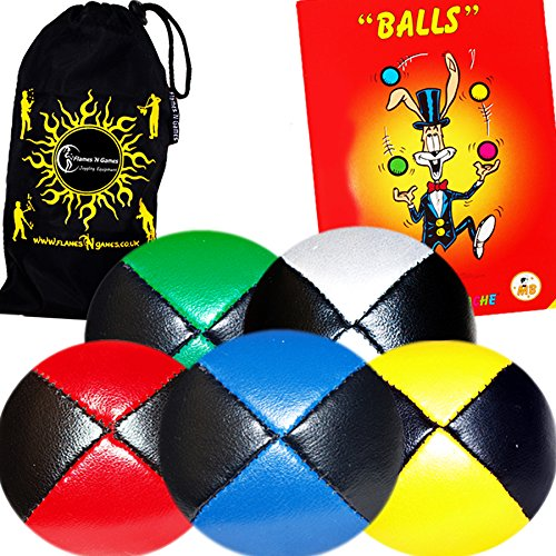 5x Pro Thud Juggling Balls - Deluxe (LEATHER) Professional Juggling Ball Set of 5 + Mister Babache Ball Juggling Book of tricks, and Fabric Travel Bag! (Mix of colors) Color: Mix of colors Model: by Flames N Games Juggling Ball Sets (Image #1)