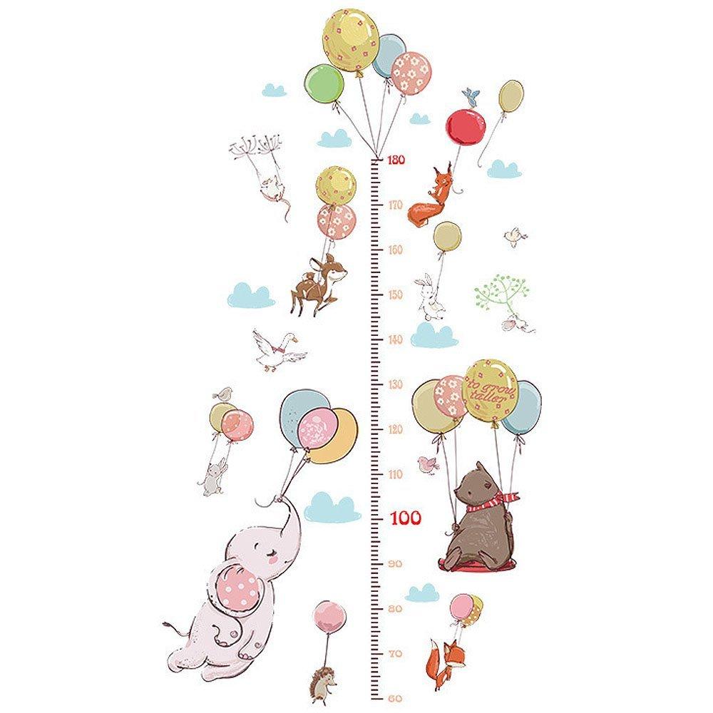 boodecal Flying大きな象動物壁デカールエアバルーン高さ成長チャート壁ステッカー壁画キッズ寝室用教室保育園   B07CPPRHSP