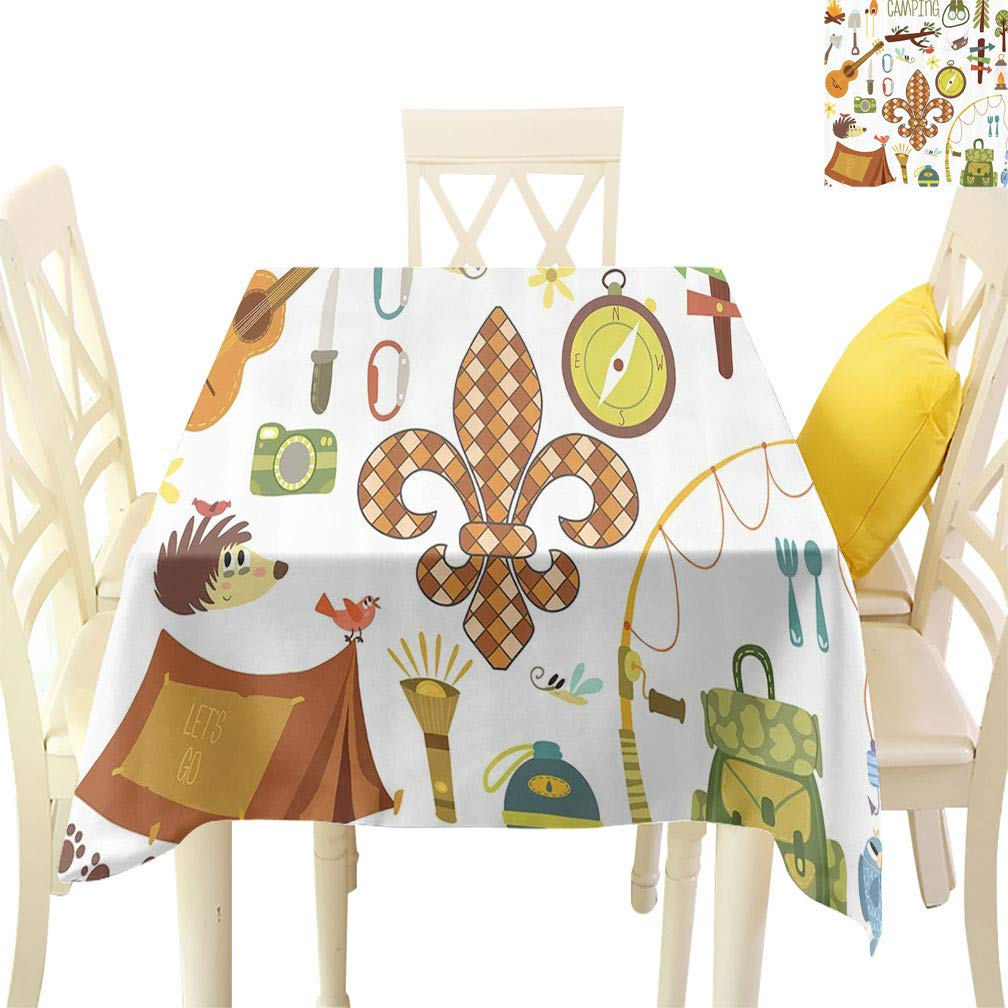 Fleur de Lis Square Tablecloths, Camping Equipments Boy Scout Campfire Symbol Fishing Lure Fancy Decorations Lake Large Table Linens Covers for Dining Room, 70'' x 70'' Brown Mustard Green White by Sunxdeco