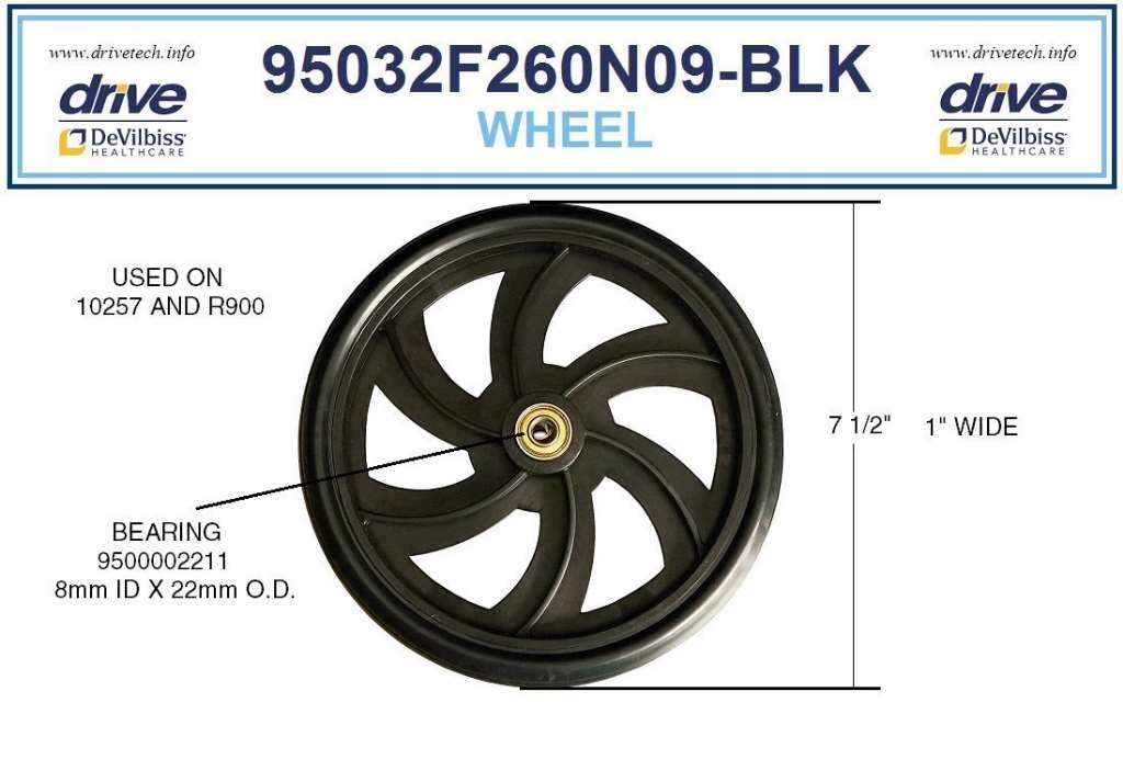 Drive Replacement Wheel for Rollator Model 10257 (Wheel Black 7.5'') by drive