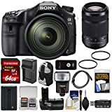 Sony Alpha A77 II Wi-Fi Digital SLR Camera & 16-50mm Lens 55-300mm Lens + 64GB Card + Backpack + Flash + Battery/Charger + Grip + Kit