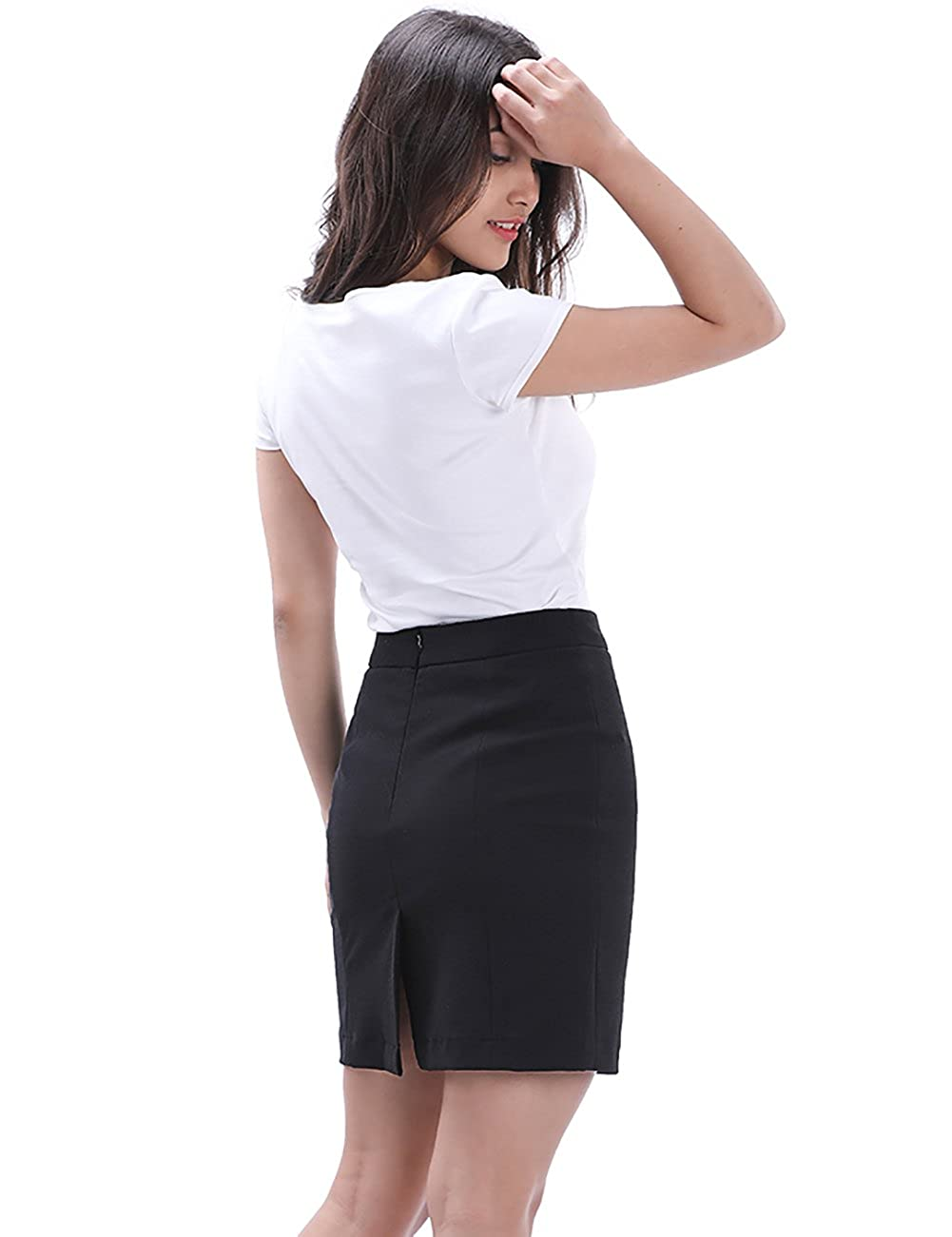 d153a0f49 FEATURES: Slim Fit, Zipper Closure, Split Back, Bodycon Skirt, High Waist  Pencil Skirt, Pure Black Color, Short Fitted Mini Skirt