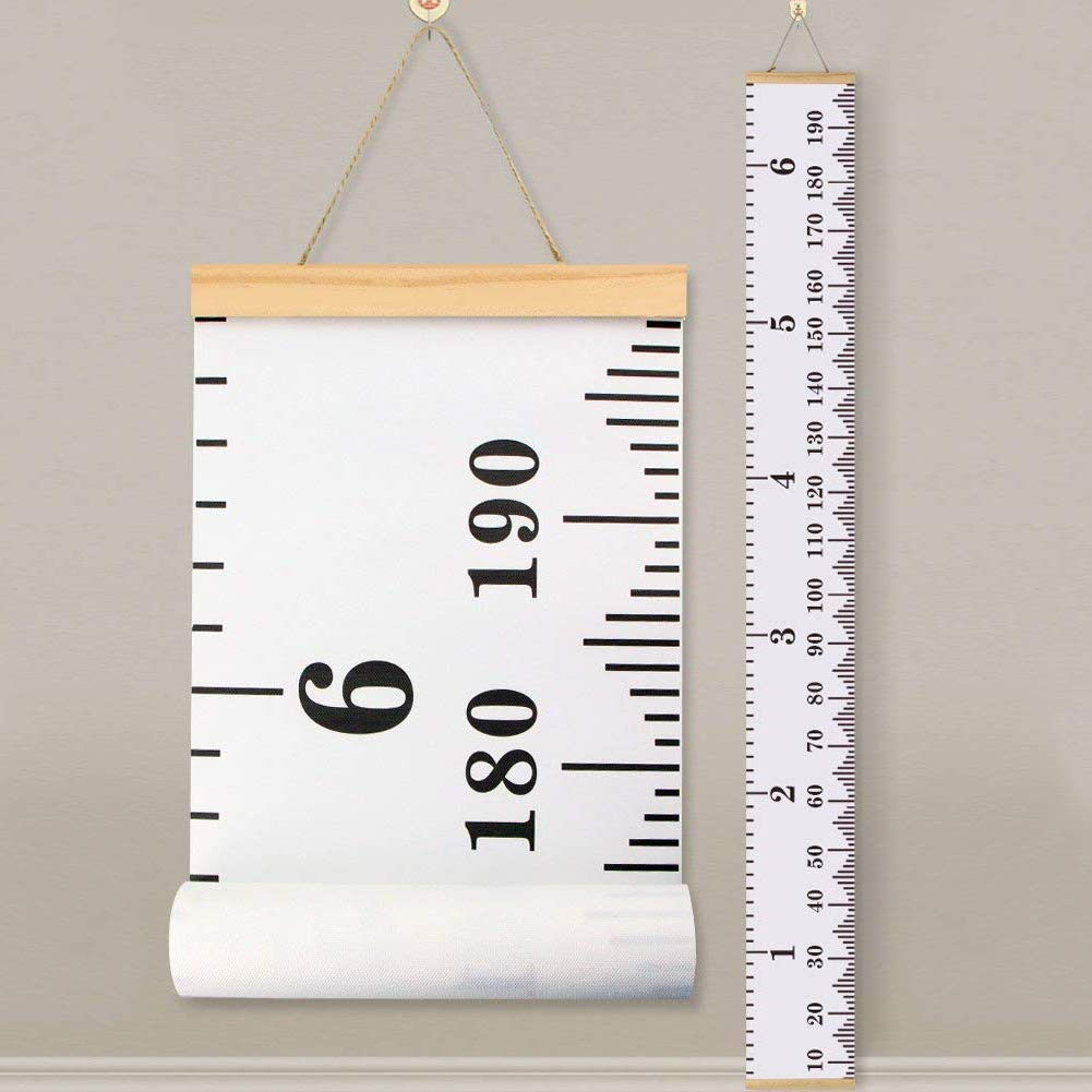 Baby Height Growth Chart Ruler - YiGooood Kids Roll-up Canvas Height Chart, Removable Wall Hanging Measurement Chart Wall Decor with Wood Frame for Kids (79'' X 7.9'')