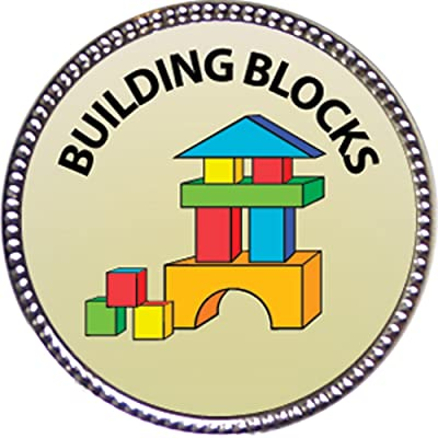 "Building Blocks Award, 1 inch dia Silver Pin ""Recreation Collection"" by Keepsake Awards"