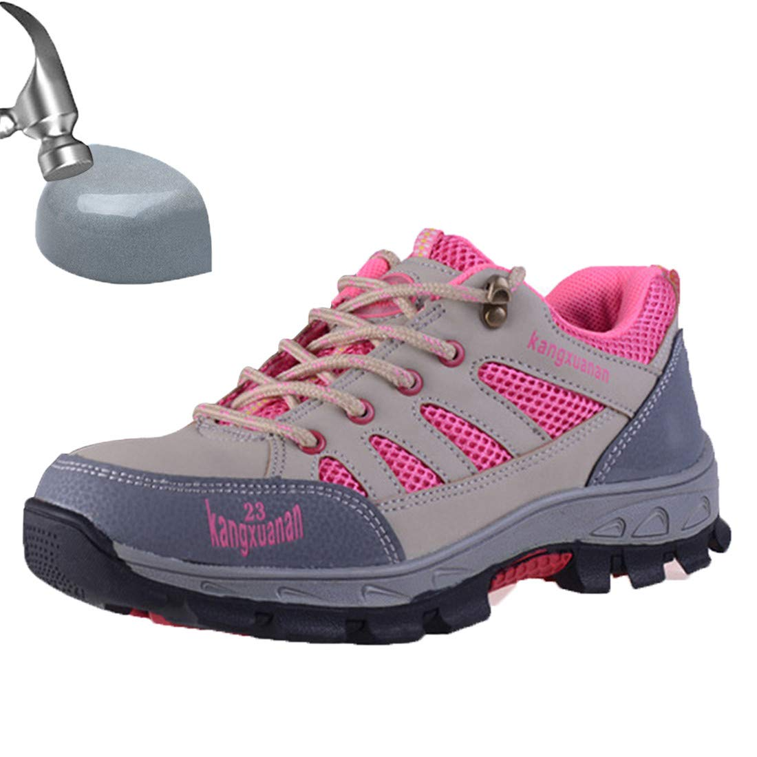 SUADEX Steel Toe Shoes Men, Work Shoes, Safety Shoes, Steel Toe Boots for Men, pink-34