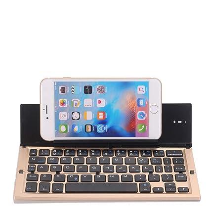 HXMEJ Sistema de Aluminio con Teclado Bluetooth Plegable Tres Universal para iPhone x 8 7 6