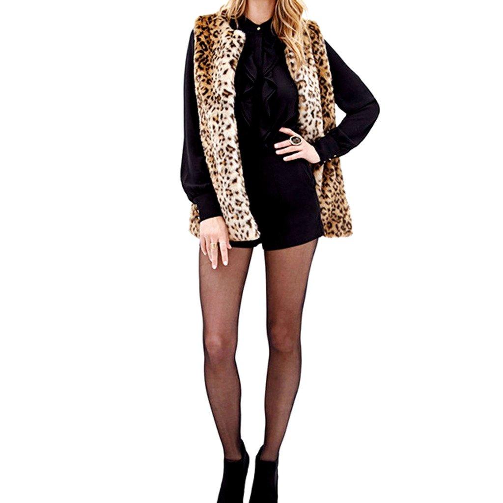 JJ Store Womens Faux Fur Vest Coat Sleeveless Waistcoat Leopard Print Outwear