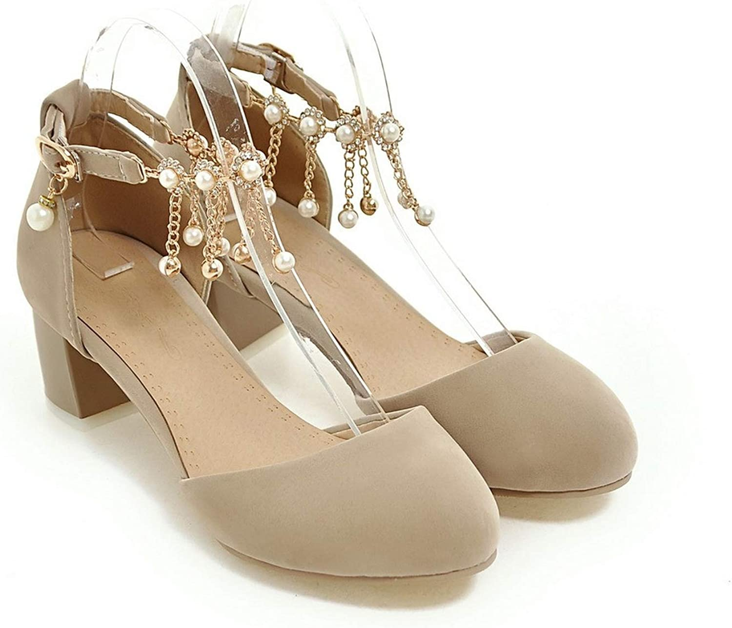 Pumps Women Shoes Sweet Bead Round Toe Party Shoes Comfortable Square Heels Shoes Woman,Beige,10