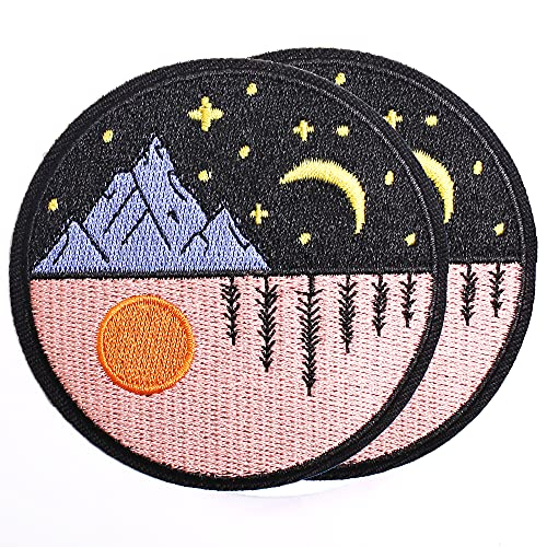 Harsgs Day and Night Patch Embroidered Applique Badge Iron on /Sew on Patches Emblem Patch DIY Accessories, Perfect for Clothes, Dress, Hat, Jeans, Pack of 2