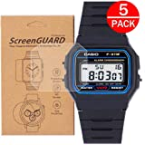 [5-Pack] for Casio F91W-1 Watch Screen Protector,Full Coverage Screen Protector for Casio F91W-1 / F-91W Watch HD Clear Anti-Bubble and Anti-Scratch