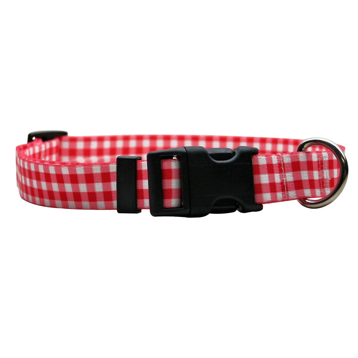 Yellow Dog Design Gingham Red Dog Collar 3/4'' Wide and Fits Neck 10 to 14'', Small