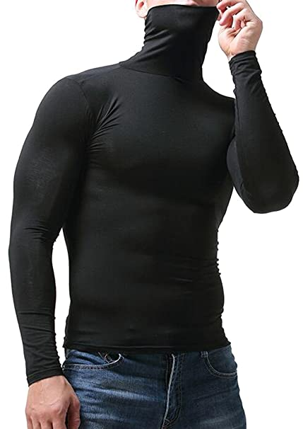 d1e808211 Oberora-Men Basic Solid Turtleneck Long Sleeve Thermal T-Shirt Tee Tops