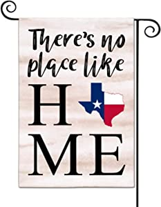 LHMUYU Texas State There's No Place Like Home Decoration Garden Yard Flags Sign for Indoor and Outdoor Polyester Flag Double Sided 12 x 18 Inch