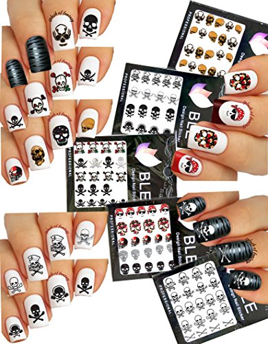 Pirate Theme ☠ Nail Art Water Tattoo Stickers Decals - Skulls, Crossbones, Cross Swords ⚔ 5 Packs -