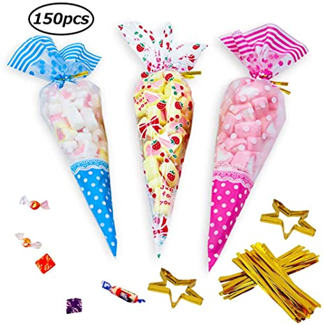 SWZY150 PCS Bolsas de Cono Transparentes,BolsasTriángulo Claro Bolsas de Celofán OPP Bolsas de Plástico Galletas Galletas Dulces Galletas Lollipop ...