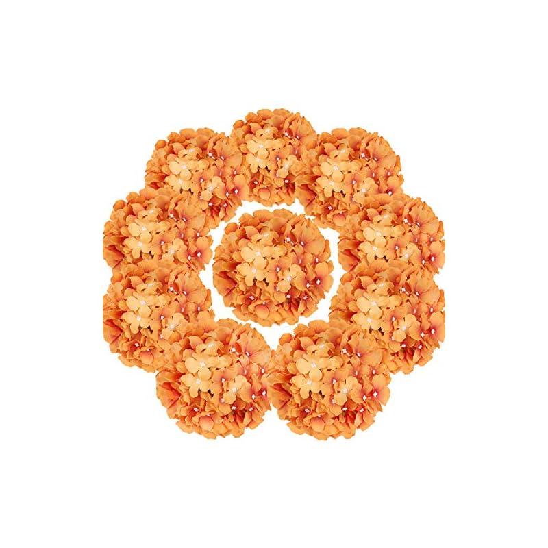 silk flower arrangements flojery silk hydrangea heads artificial flowers heads with stems for home wedding decor,pack of 10 (fall orange)
