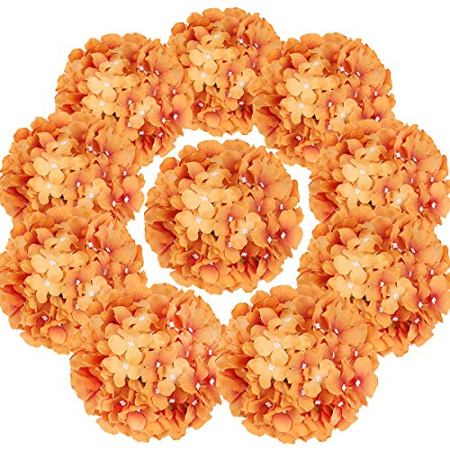 Flojery Silk Hydrangea Heads Artificial Flowers Heads with Stems for Home Wedding Decor,Pack of 10 (Fall Orange)