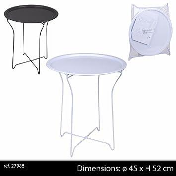 COULEUR BLANCHE TABLE BASSE EN METAL BAR APPOINT PLIANTE PLIABLE ...