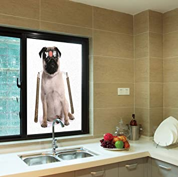 Amazon.com: YOLIYANA Frosted Window Film,Pug,for Shop ...