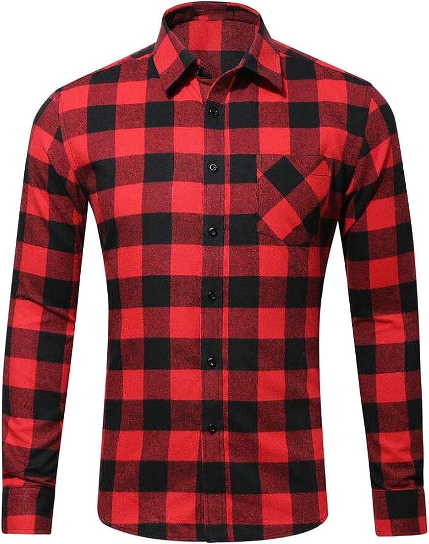 Alion Mens Checkered Long-Sleeve Slim Classic Button Down Dress Shirt