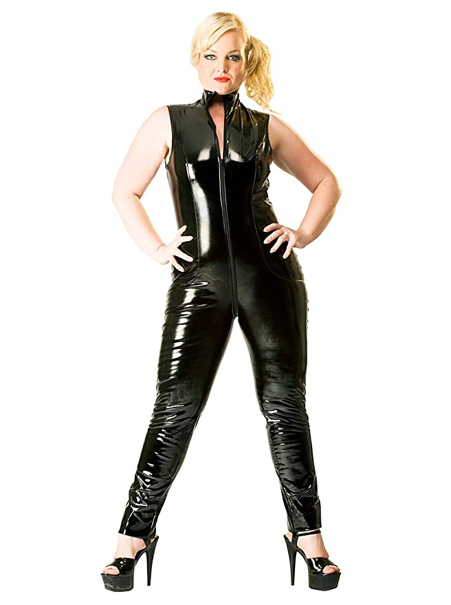 Honour Women s Sexy Catsuit in High Gloss PVC Sleeveless High Neck   Amazon.co.uk  Clothing 5758d8faf