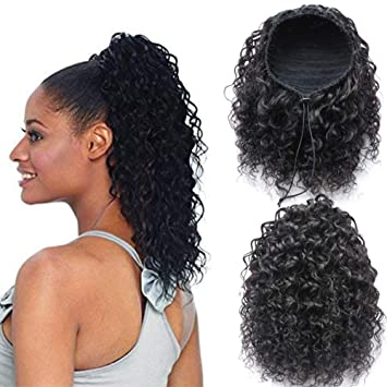 Womens Drawstring Curly Wave Hair Bun Clip In Hair Extension Hairpiece Wigs