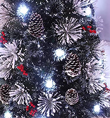 Snowy White Pine Pre-lit Flocked Christmas tree//Flocked Fiber optic Christmas tree with cool white LED light and star tree topper 6ft