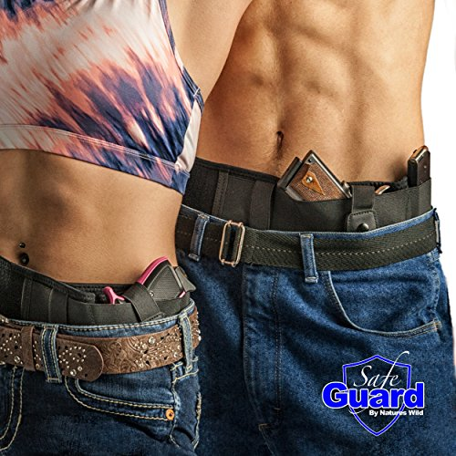 Nature's Wild Safeguard Concealed Carry Pistol Holster - Comfortable neoprene belly band holster for men and women - Black CCW Gun Belt (One Size fits Most, ambidextrous) ()