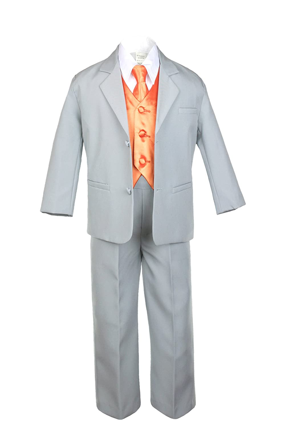 Unotux 7pc Boys Silver Suit with Satin Orange Vest Set from Baby to Teen