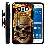 Galaxy Grand Prime Cover, Swivelling Belt Clip, Double Layer Combo High Impact Armor w/ Kickstand - Skulls Designs - for Samsung Galaxy Grand Prime SM-G530 by MINITURTLE - Skull on Fire