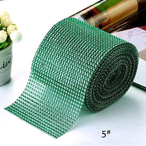 - Diamond/Pearl/Daisy Flower Mesh Rhinestone Ribbon Wrap for Wedding, Party, and Events Christmas Decoration -10 Yards (E)