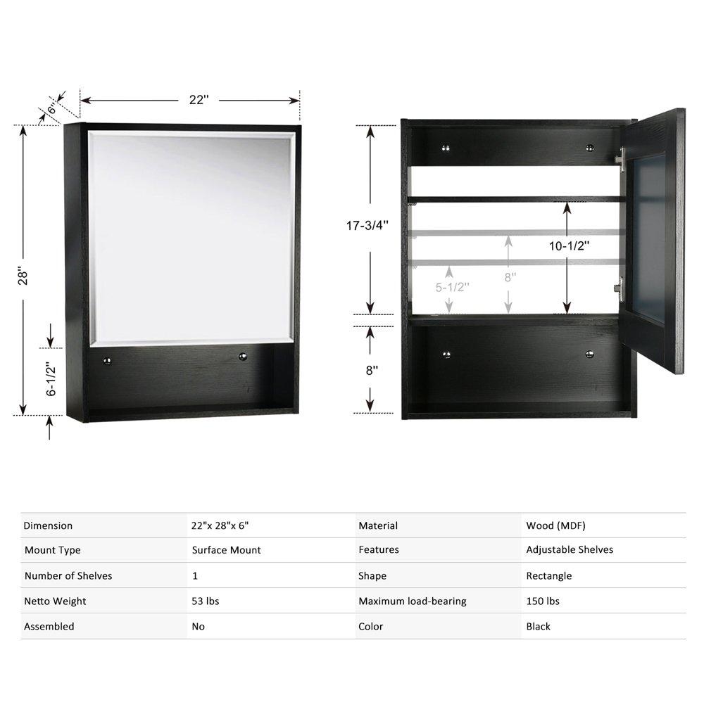 U-Eway 22''x28'' Bathroom Medicine Cabinet Organizer With Mirror 3-Height Adjustable Shelf Wall Mounted Surface Black Bathroom Storage by U-Eway (Image #4)