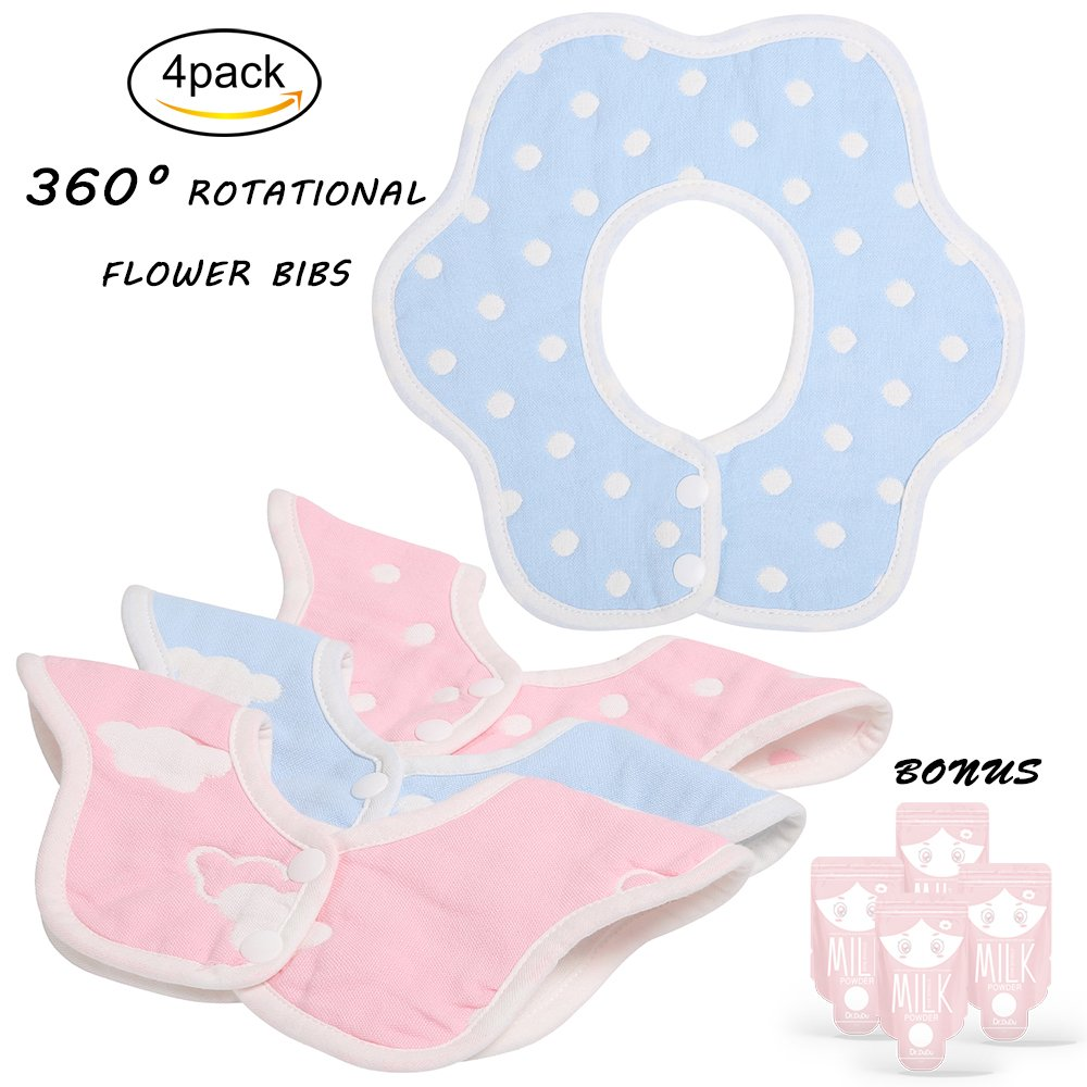 Cute 100% Organic Cotton Baby Bib Set of 4 with Absorbent Multi-Layer Design for Your Teething Baby or Messy Baby Feeding baby bibs 003