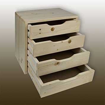 Cajones Box – Caja de madera – Mesa de noche con 4 cajones de madera maciza