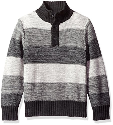 The Children's Place Boys' Big Boys' Striped Mock Neck Pullover Sweater, Gray, XXL(16)
