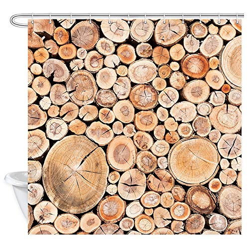 Free Time Bed Panel - NYMB Rustic Wooden Shower Curtain Tree Stumps Wallpaper, A Fence Made Out of Stacked Cords of Wood Vintage Farmhouse Texture Bath Curtains, Fabric Bathroom Curtains Accessories 12PCS Hooks 69X70 in
