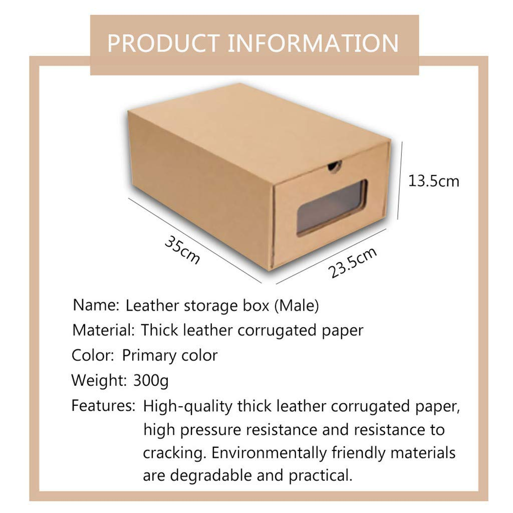 Wusad Thickened Kraft Cardboard Box Transparent Drawer Shoebox Stackable Shoe Organizer A:10 Pcs//B:20 Pcs A